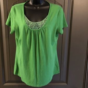 Apostrophe Green Women's Top with Crochet Detail